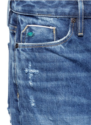 Detail View - Click To Enlarge - Tortoise - Letout cuff washed wide leg jeans