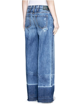Back View - Click To Enlarge - Tortoise - Letout cuff washed wide leg jeans