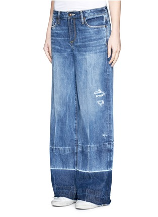Front View - Click To Enlarge - Tortoise - Letout cuff washed wide leg jeans