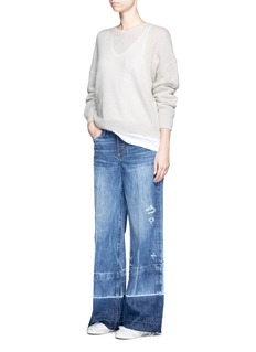 Tortoise Letout cuff washed wide leg jeans