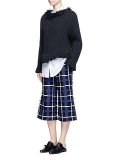 Xu ZhiFrayed trim braided cotton-wool sweater