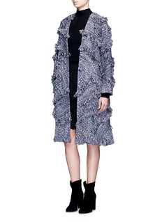 Xu ZhiFrayed trim braided cotton coat