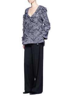 Xu ZhiFrayed trim braided cotton V-neck top