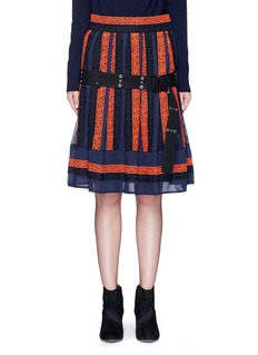 Sacai Embroidered regimental calligraphy stripe pleated skirt
