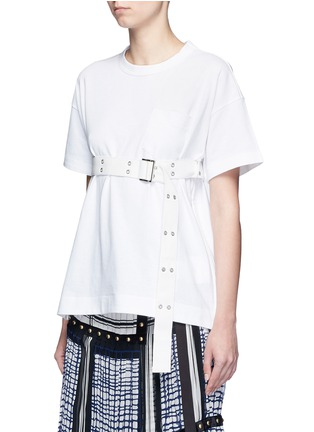 Front View - Click To Enlarge - Sacai - Belted cotton T-shirt