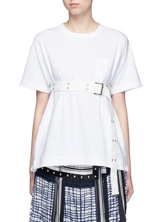 Sacai Belted cotton T-shirt