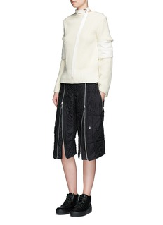Sacai Patch sleeve belted neck wool sweater
