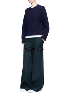 SacaiBelted leg wool melton pants