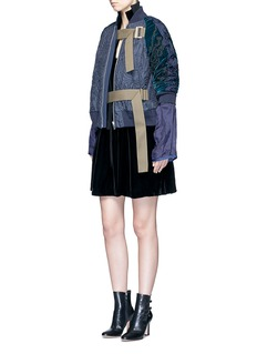 SacaiCalligraphy embroidered velvet sleeve quilted bomber jacket