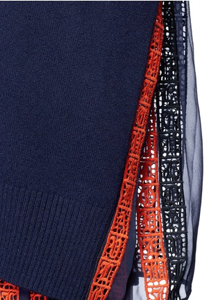 Detail View - Click To Enlarge - Sacai - Regimental calligraphy stripe pleated wool turtleneck sweater