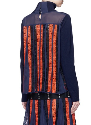 Back View - Click To Enlarge - Sacai - Regimental calligraphy stripe pleated wool turtleneck sweater