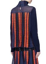 Regimental calligraphy stripe pleated wool turtleneck sweater