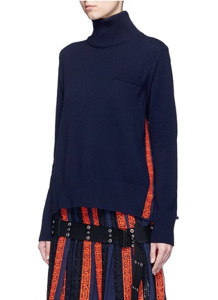 Front View - Click To Enlarge - Sacai - Regimental calligraphy stripe pleated wool turtleneck sweater