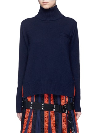 Main View - Click To Enlarge - Sacai - Regimental calligraphy stripe pleated wool turtleneck sweater