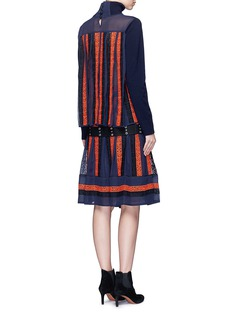 SacaiRegimental calligraphy stripe pleated wool turtleneck sweater