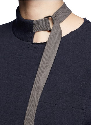 Detail View - Click To Enlarge - Sacai - Buckle strap twill apron T-shirt dress