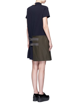 Back View - Click To Enlarge - Sacai - Buckle strap twill apron T-shirt dress