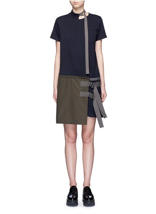 Main View - Click To Enlarge - Sacai - Buckle strap twill apron T-shirt dress