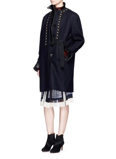Sacai Leather collar stud wool melton coat
