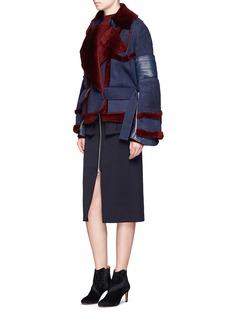 SacaiLeather trim colourblock sheepskin shearling jacket