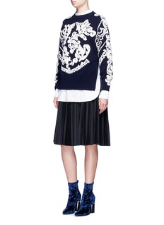 SacaiSwirl embroidered side zip wool sweater
