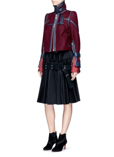 SacaiLeather trim belted wool Melton jacket