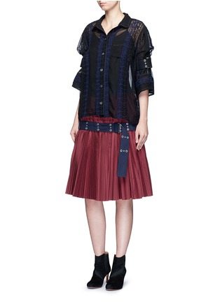 Figure View - Click To Enlarge - Sacai - Belted plissé pleat skirt
