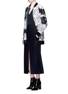 self-portrait Floral guipure lace bomber jacket