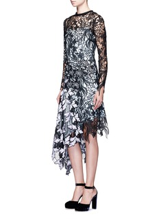 self-portrait 'Vine' asymmetric floral guipure lace midi dress