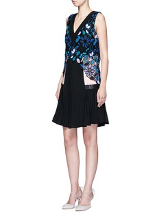 self-portrait 'Iris' floral guipure lace overlay crepe dress