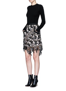 self-portrait 'Nina' floral guipure lace skirt