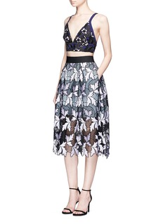 self-portrait Floral guipure patchwork lace midi skirt