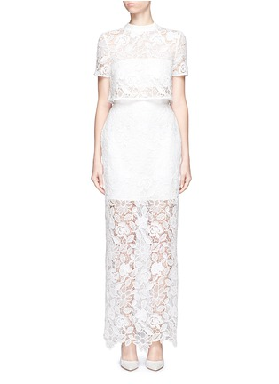 Main View - Click To Enlarge - self-portrait - 'Marcela' cape overlay guipure lace bridal dress