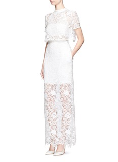 self-portrait 'Marcela' cape overlay guipure lace bridal dress
