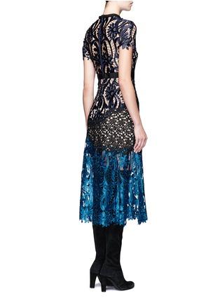 Back View - Click To Enlarge - self-portrait - 'Prairie' colourblock floral guipure lace midi dress