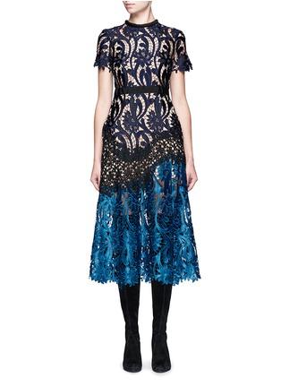 Main View - Click To Enlarge - self-portrait - 'Prairie' colourblock floral guipure lace midi dress