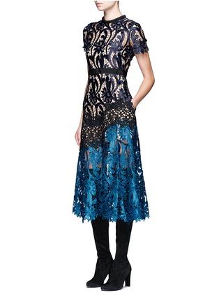 Figure View - Click To Enlarge - self-portrait - 'Prairie' colourblock floral guipure lace midi dress