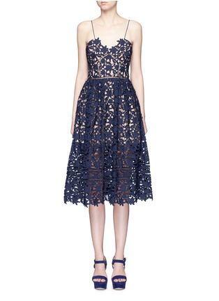 Main View - Click To Enlarge - self-portrait - 'Azaelea' floral lace spaghetti strap dress