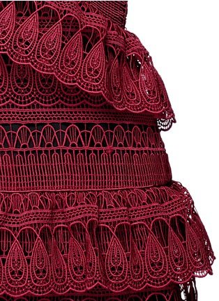 Detail View - Click To Enlarge - self-portrait - Teardrop geometric guipure lace tiered dress