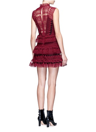 Back View - Click To Enlarge - self-portrait - Teardrop geometric guipure lace tiered dress