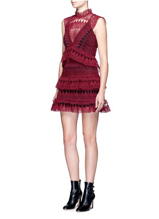 Figure View - Click To Enlarge - self-portrait - Teardrop geometric guipure lace tiered dress