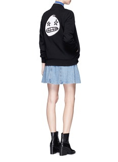 Etre Cecile  Starry eye badge appliqué fleece bomber jacket