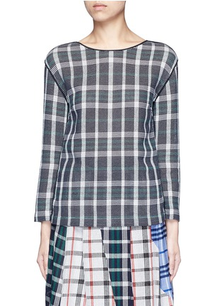 Main View - Click To Enlarge - RHIÉ - Mesh plaid cotton top