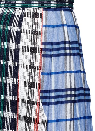 Detail View - Click To Enlarge - RHIÉ - Patchwork plaid pleated cotton skirt
