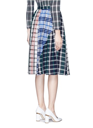Back View - Click To Enlarge - RHIÉ - Patchwork plaid pleated cotton skirt