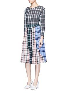 RhiéPatchwork plaid pleated cotton skirt