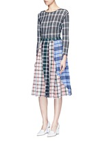 Patchwork plaid pleated cotton skirt