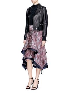 RhiéWave print plissé satin handkerchief skirt