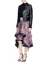 Wave print plissé satin handkerchief skirt