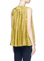 Neck tie pleated charmeuse sleeveless top